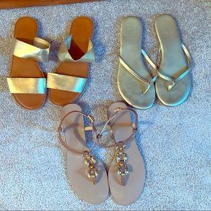 3 pair of gold sandals!